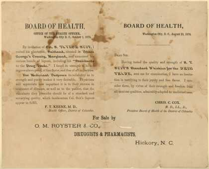 S. T. Suit's Standard Whiskies for the Drug Trade's liquor – Board of Health (1875)