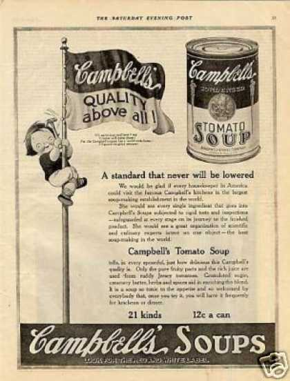 "Campbell's Tomato Soup Ad ""Quality Above All... (1921)"