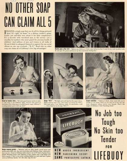 Lever Brothers Company's Lifebuoy Health Soap – No Other Soap Can Claim All 5 (1945)