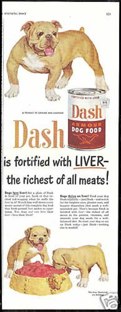 Bulldog Puppies Dash Dog Food Vintage (1950)