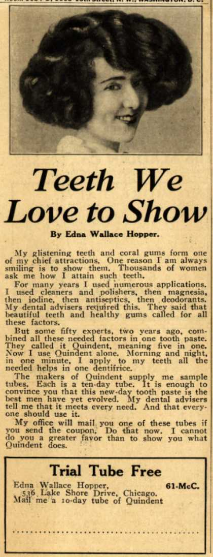 Edna Wallace Hopper's Quindent Toothpaste – Teeth We Love to Show (1926)