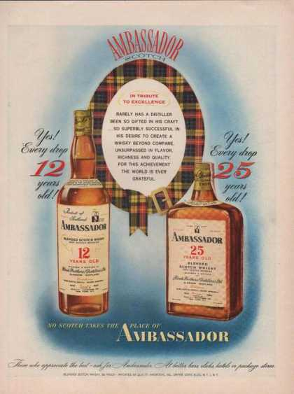 Ambassador 12 & 25 Year Old Scotch Print A (1949)