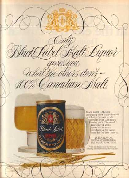 Carling's Black Label Export Premium Malt Liquor (1971)