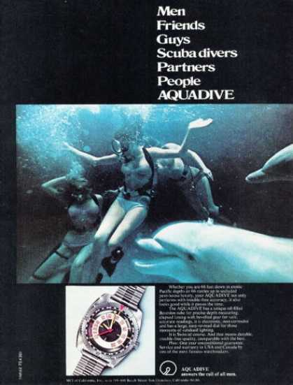 Aquadive Diver Diving Depth Gauge Dive Dolphins (1972)
