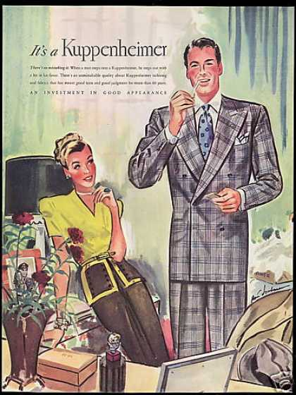 Kuppenheimer Fashion Handsome Smoking Man Art (1946)