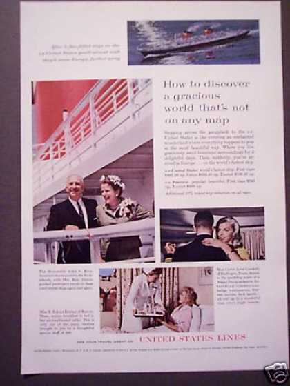 Ss United States Cruise Ship Lines Photo (1962)
