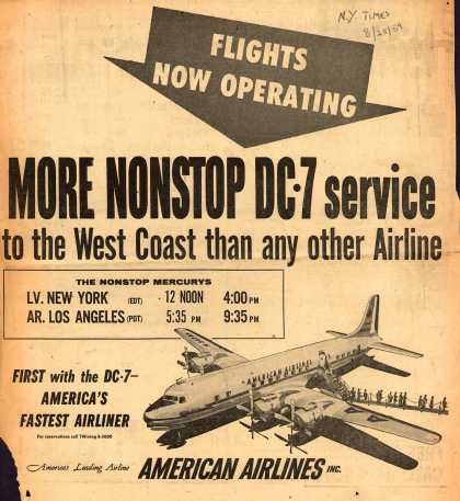 American Airlines – Flights Now Operating. More Nonstop DC-7 Service to the West Coast than Any Other Airline (1954)