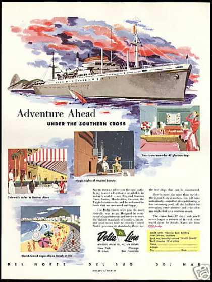 Delta Line Cruise Ships South America Vintage (1950)