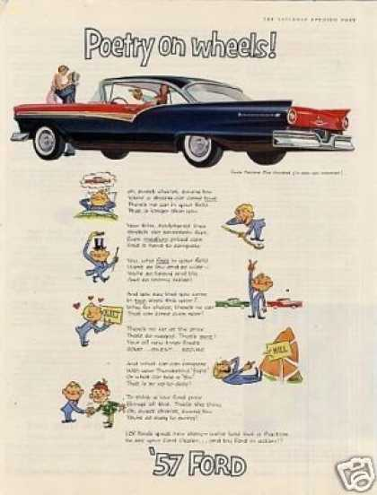 "Ford Fairlane 500 Car Ad ""Poetry On Wheels... (1957)"