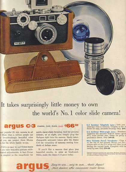 Argu's C-3 Camera, Case & Flash (1956)