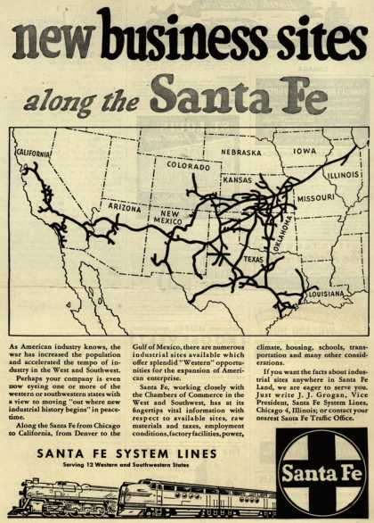 Santa Fe System Lines – New business sites along the Santa Fe (1945)