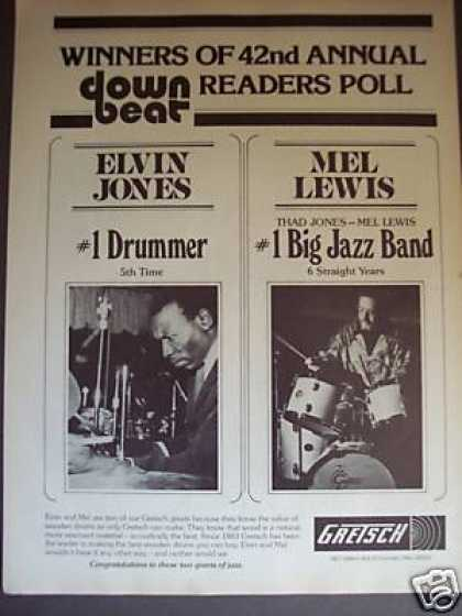 Elvin Jones Mel Lewis Photo Gretsch Drums (1978)