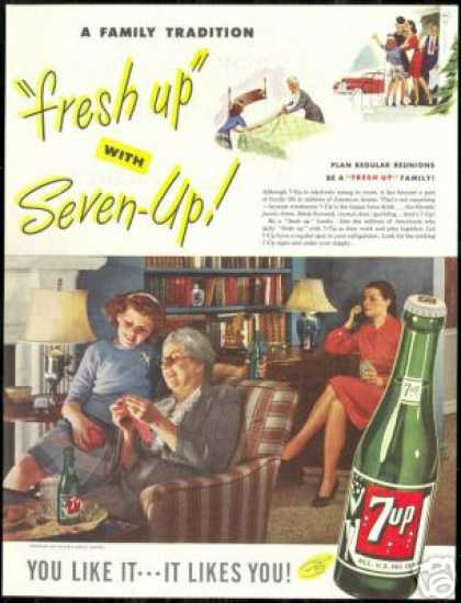 Grandmother Knitting Photo 7up Seven 7-up (1947)