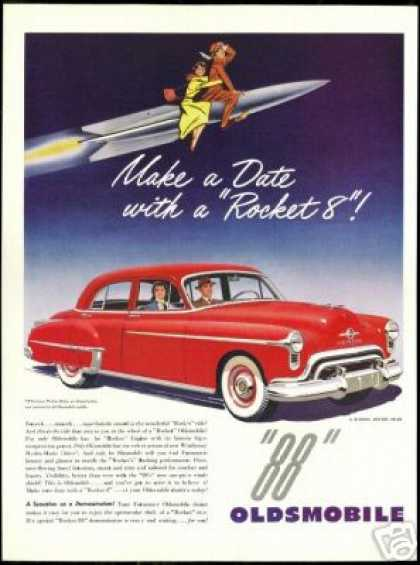 Red Oldsmobile 88 4 Dr Car Space Rocket (1950)