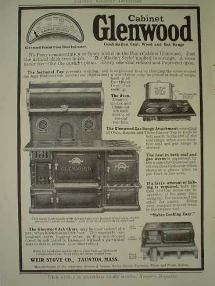 Weir Stove Co Taunton Mass Cabinet Glenwood AND Howard Watch Co (1910)