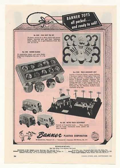 Banner Plastic Toys Tea Set Blocks Trucks Trade (1955)