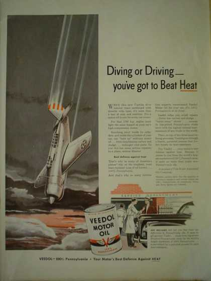 Veedol Motor Oil. Diving or driving war theme (1941)