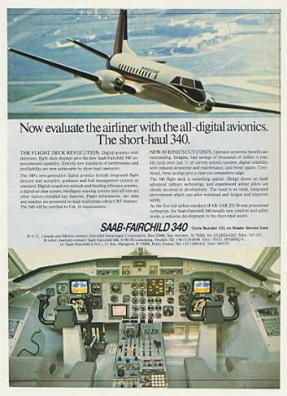 Saab Fairchild 340 Airliner Airplane Photo (1982)