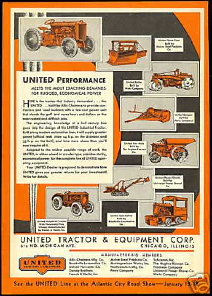United Tractor Scraper Plow Etc Equipment (1930)