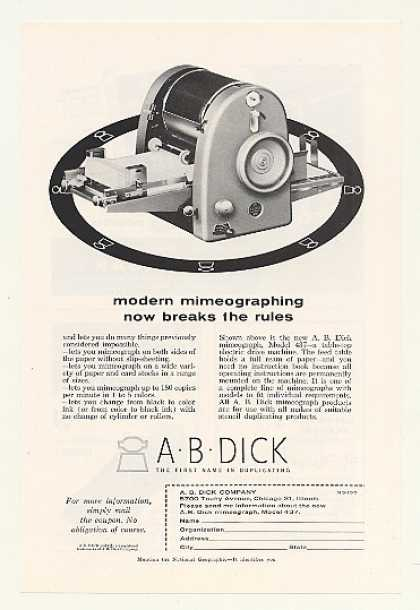A.B. Dick Model 437 Mimeograph Machine (1955)