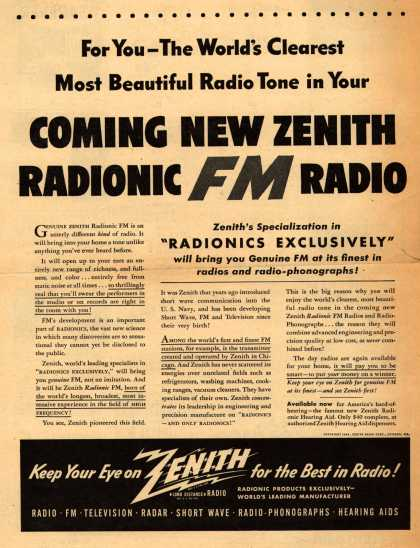 Zenith Radio Corporation's various – For You-The World's Clearest Most Beautiful Radio Tone in Your Coming New Zenith Radionic FM Radio (1945)