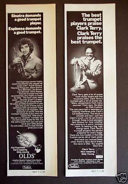 Hal Espinosa & Clark Terry Olds Trumpets 2 Ads (1977)