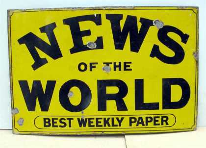 News of the World Newspaper Enamel Sign