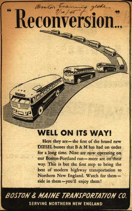 "Boston & Maine Transportation Co.'s Diesel buses – ""Reconversion..."" (1945)"