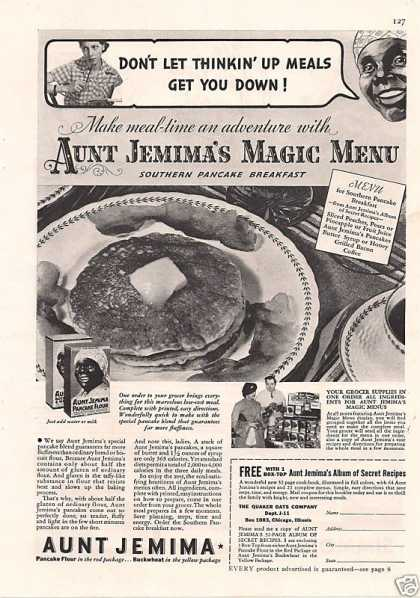 Aunt Jemimas Magic Menu Pancake Flour (1935)