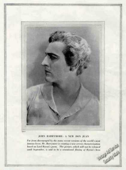 John Barrymore Photo Antique Theatre Print Feature (1926)