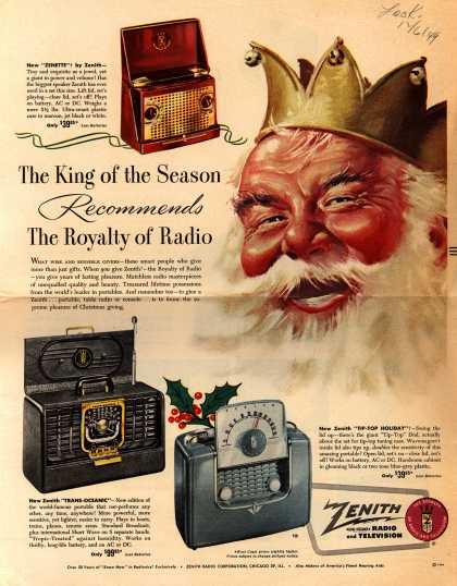 Zenith Radio Corporation's Various – The King of the Season Recommends the Royalty of Radio (1949)