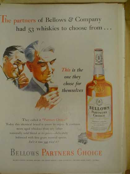Bellows Partners Choice. Partners had 53 whiskeys to choose from (1953)