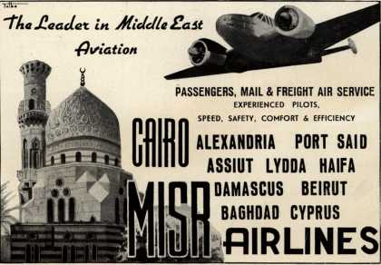 MISR Airlines – The Leader in Middle East Aviation : Passengers, Mail & Freight Air Service (1947)