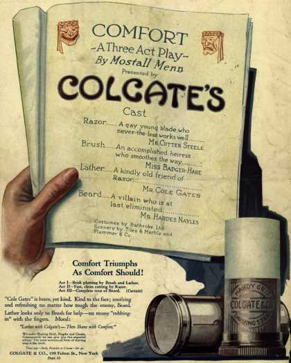 Colgate & Company's Colgate Products – Comfort-A Three Act Play-By Mostall Menn (1920)