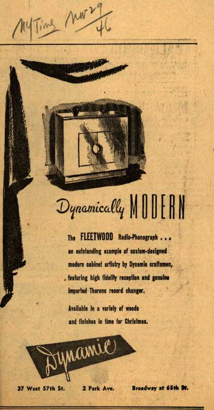 Dynamic's radio-phonograph – Dynamically MODERN (1946)