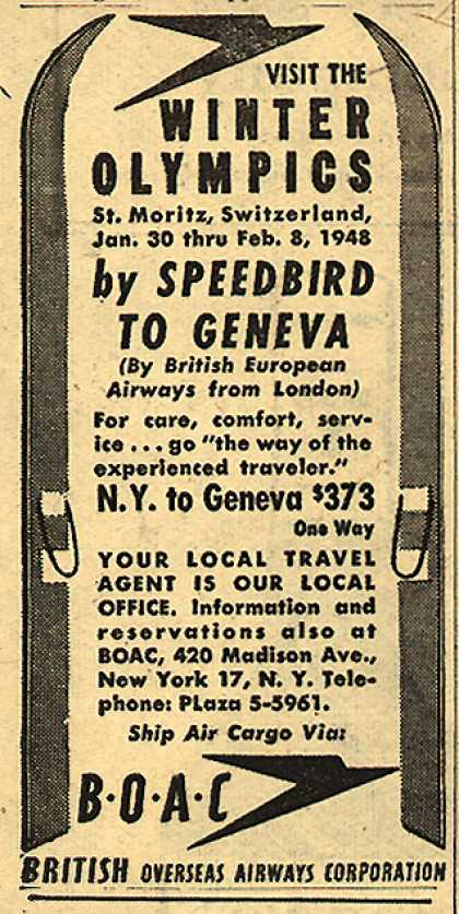 British Overseas Airways Corporation's Geneva, Switzerland – Visit the Winter Olympics (1947)
