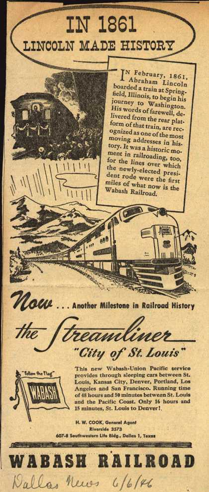"Wabash Railroad's ""City of St. Louis"" Streamliner – In 1861 Lincoln Made History (1946)"