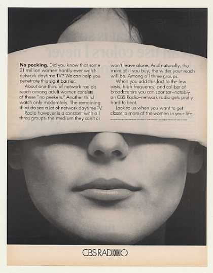 Blindfolded Woman Hardly Watch Day TV CBS Radio (1969)