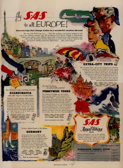 Scandinavian Airlines System's Europe – Fly SAS to all EUROPE (1954)
