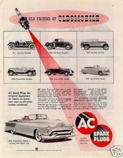 Ac Spark Plugs Ad Oldsmobile Cars (1953)