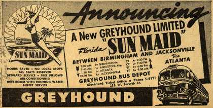 "Greyhound's Florida ""Sunmaid"" – Announcing A New Greyhound Limited (1947)"