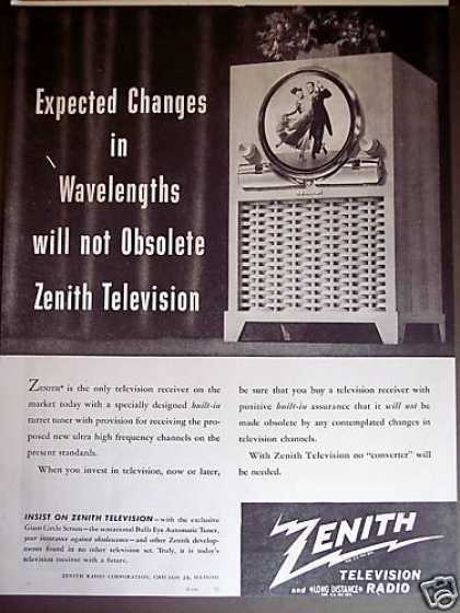 Zenith Round Giant Circle Screen Tv Television (1949)