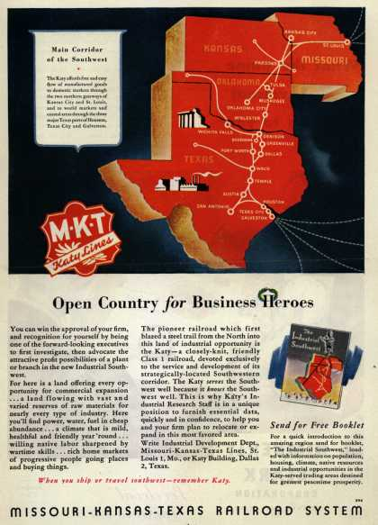 Missouri Kansas Texas Railroad System – Open Country for Business Heroes (1946)