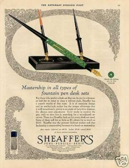 "Sheaffer's Fountain Pens Color Ad ""Masterpiece... (1927)"
