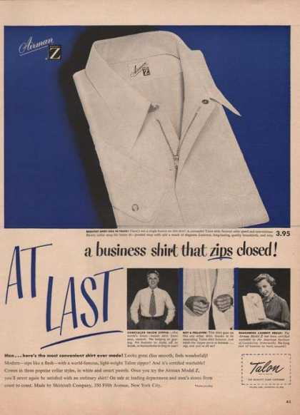 Talon Slide Zipper for Shirts (1949)