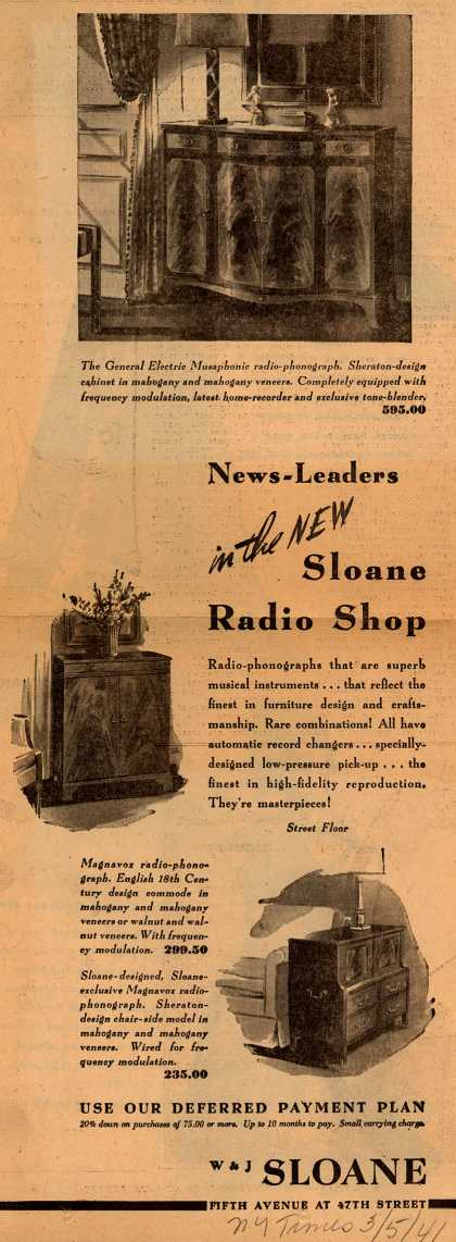 Variou's Radio-phonograph – News-Leaders in the New Sloane Radio Shop (1941)