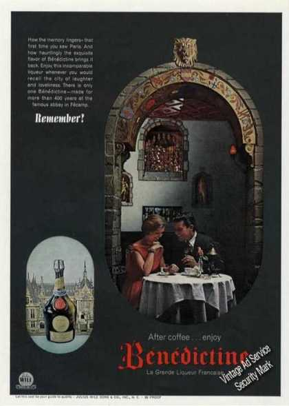 After Coffee Enjoy Benedictine La Grand Liqueur (1962)