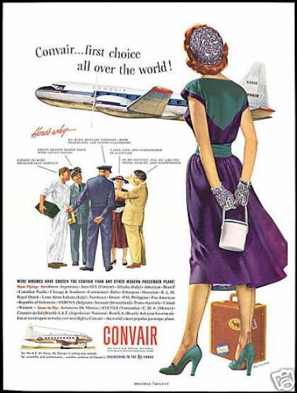 Convair Airplane Redhead Woman Ren Wicks Art (1953)