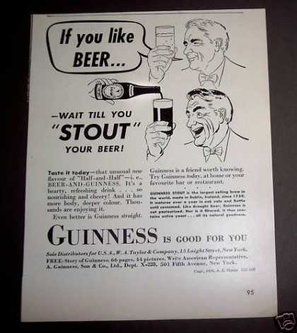 Guinness Stout Mixed With Beer (1939)