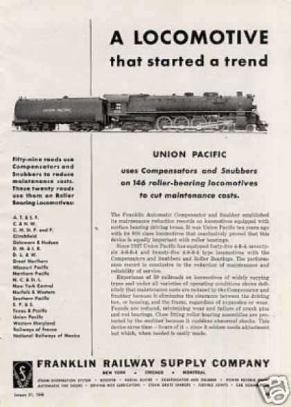 "Franklin Ad Union Pacific Rr Alco ""Fef"" 4-8-4#806 (1948)"